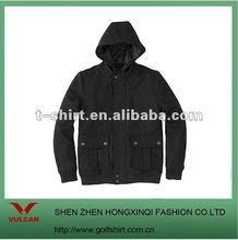 2012 men's leisure black color hooded wool coat slim fit jacket