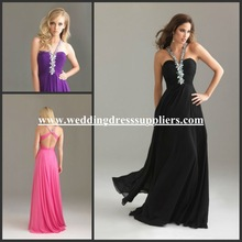 NTM-6476 Eye-Catching Halter Beaded Long Chiffon Backless Evening Dress