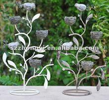 bird candle holder/metal 3 head candle holder/metal candelabra