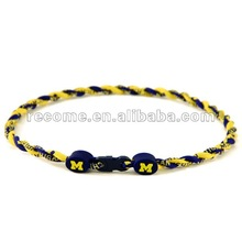 NCAA College Michigan Wolverines titanium twist Necklace all teams mixed for order