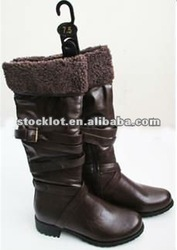 Closeout ladies pu fashion long boots
