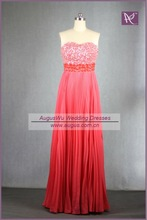 RS30 2012 New Design Real Sample Full Beaded High Waist Ruched Rose Red Chiffon Prom Dress