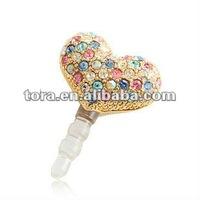fahison colors heart plug ear cap for iphone