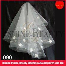Charming crocheted short off white flowers bridal wedding veil