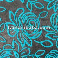 Floral Flocked Velvet Upholstery Fabric for Sofas