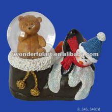 shoe shape polyresin bear animal snow globe
