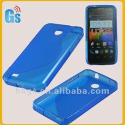 For zte u795 jelly tpu gel skin case blue