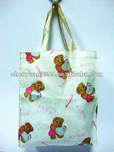 2012 pvc eco-friendly cartoon folding shopping bag with handles