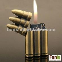 Vintage 3 Bullet Shaped Refillable Cigarette Cigar Butane Lighter Flip Top