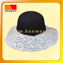 fashion wool felt floppy hat with lace covered on hat brim