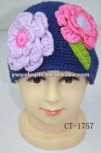 hot sale lady handmade flower crochet cap 100% winter hat