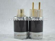 SONARQUEST Carbon Fiber Series EU Gold plated power plug adapter
