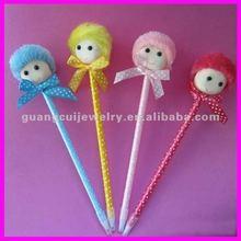 fashion newest cartoon plush pen doll with hat children pen