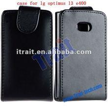 Black Magnetic Flip Leather pouch case for lg optimus l3 e400
