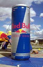 Personalizada botella inflable pantalla, inflables toro rojo botella