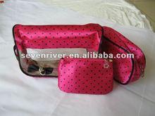 Transparent PVC Three Pieces Handbag/Cosmetic bag
