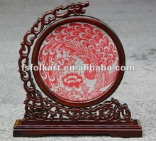 Hollow Carved Wood Screen With Paper Cutting Pattern_Single Dragon Head & Semicircle_Peacock