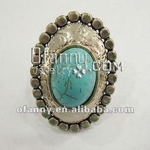 Fashion imitation jewelry large turquoise stone cocktail ring