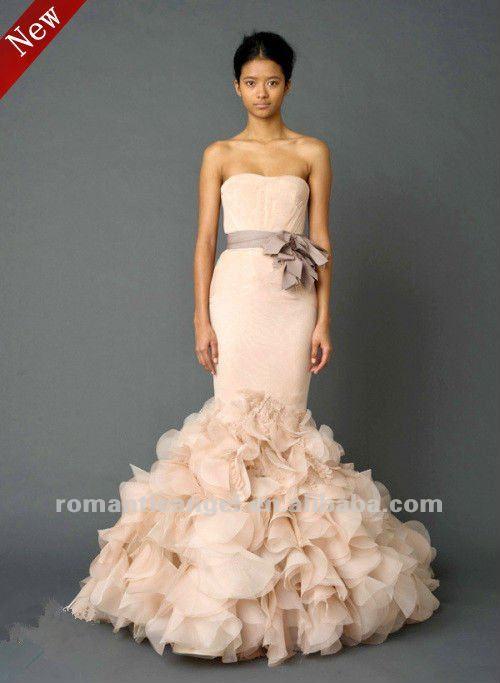 Glamorous Mermaid Wedding Dress In Cream Color
