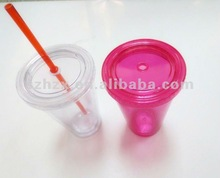 transparent with color PS plastic big drink cups with cover