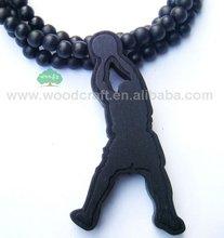 Good Wood Basketball Player Jump Man Pendant Ball Chain Necklace Black