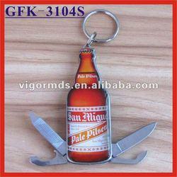 (GFK-3104S) 4 N 1 Beer Shaped Multifunction Opener Knives Keychain Tools