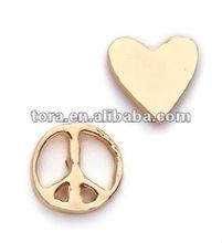 fashion Peace & Heart gold plated earrings