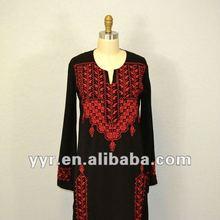 YYH-JB0020 2012 Vintage Ethnic Black Embroidery Abaya United Arab Emirates