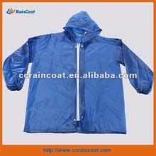 Adult blue zipper rain coat