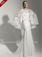 Glamorous Mermaid Lace with Cape Wedding Dress 2012