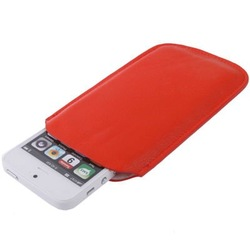 Leather Case Pocket Pouch Sleeve Bag for iPhone 5 / iPhone 4 & 4S (Red)