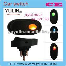 100pcs/lot china porn 12mm DC 12V yellow lamp automatic car dc switch