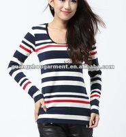 red white stripe long sleeve for women