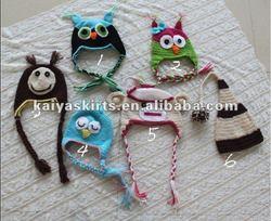 Animal Monkey, Owl Crochet Pattern Hat, Knited Hat for Baby in Stock