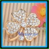 Wholesale vnistar gold plating lots rhinestone brooches girls in real four leaf clover shape