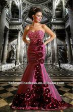 Wholesale - 2012 New Sexy Sweetheart Beadings Taffeta Purple Mermaid Rhinestones Flower Evening Dresses GSD007