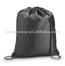 Modern black Nylon drawstring backpack for shopping