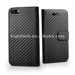 Carbon Fibre PU Leather Case Cover Pouch With Magnetic Closure For iPhone 5