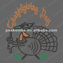 2012 Happy Thanksgiving motif hot fix rhinestone heat transfers coustom designs