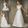 CB-1713 Wholesale And Retail A-line Batteau Neck Off-the-shoulder Best Bridal Wedding Dress Reviews With Applique