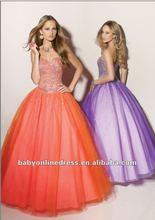 Wholesale - 2012 New Designer Sweetheart Beading Tulle Orange/Purple Ball Gown Prom Dresses MR023