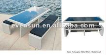 3pcs all weather hot sale beautiful Eydis rattan bench with rectangular table set