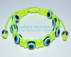 fashion neon color evil eye woven bracelet