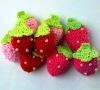Handmade Crochet Strawberry Appliques, Crochet Flowers, Crochet Fruits, Crochet Cherries (KCC-HCF00203)