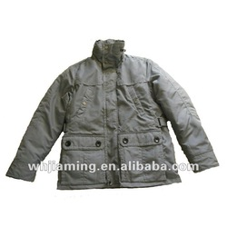 Big pocket belted in back men's winter windproof jacket