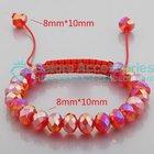 real fashion AB finish red and black shamballa bracelet