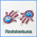 Novos conectores grânulos hamsa mão de fátima com evil eye encantos pave crystal liga de metal pulseiras para mhb-013a