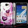 Purple Dual Heart Design Diamond Inlaid Glitter Phone Case for Samsung Galaxy Note II N7100