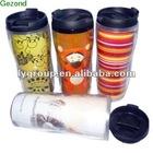 usa hot sale 12oz double walled plastic travel mug,tea cup ,paper insert tumbler
