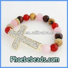 Stretch Cross Bracelets Wholesale Mix Color Jade Beaded Pave Crystal Rhinestone Sideways Elastic Jewelry PHB-006